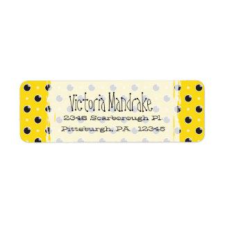 Sassy Polka Dots Return Address Label - Yellow