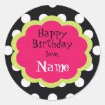 Sassy Polkadot Customizalbe Girls Birthday Sticker
