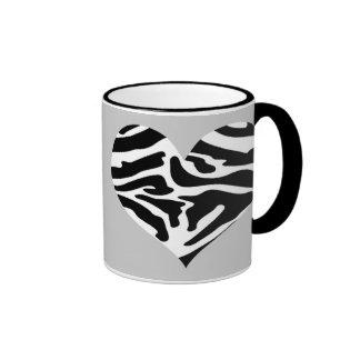 Sassy Posh Grey & Zebra Heart Mug