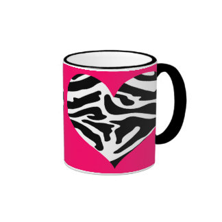 Sassy Posh Pink & Zebra Heart Mug