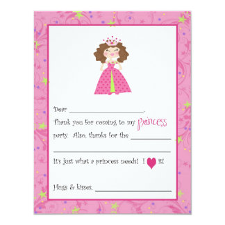 Sassy Princess Fill-in-the-Blanks Thank You Cards