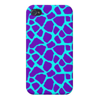 Sassy Purple and Blue Giraffe Print iPhone Case iPhone 4/4S Case