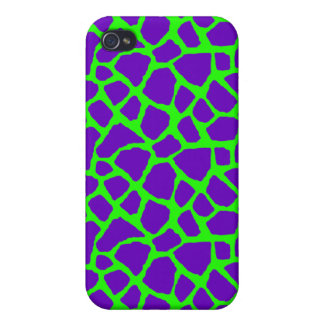 Sassy Purple and Lime Giraffe Print iPhone Case iPhone 4 Cases