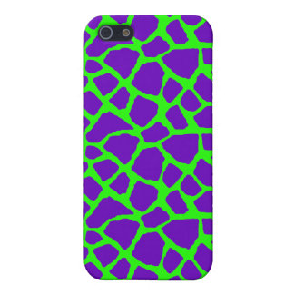 Sassy Purple and Lime Giraffe Print iPhone Case Cover For iPhone 5