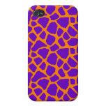 Sassy Purple and Orange Giraffe Print iPhone Case Cases For iPhone 4