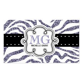 Sassy Purple Glitter Look Zebra ZigZags Business Card Template