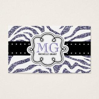 Sassy Purple Glitter Look Zebra ZigZags Business Card