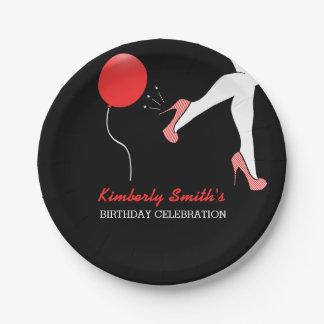 Sassy Red Stiletto High Heels Birthday 7 Inch Paper Plate