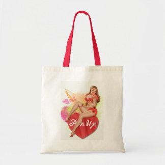 Sassy Redhead Pin-up Girl Tote Bag