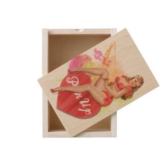 Sassy Redhead Pin-up Girl Wooden Keepsake Box