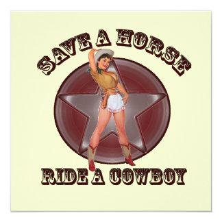 Sassy Retro Cowgirl Bachelorette Party Invitation