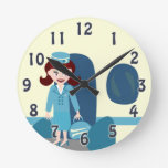 Sassy Retro Stewardess Round Wall Clock