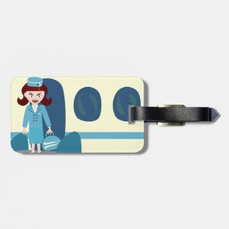 Sassy Retro Stewardess Travel Tag