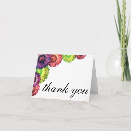 Sassy Spring Flowers Modern Thank You Card Zazzle Com