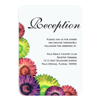 Sassy Spring Flowers Modern Wedding Reception Card