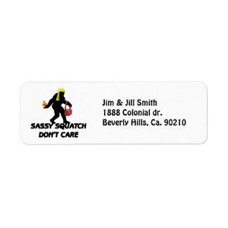 Sassy Squatch Don't Care Label