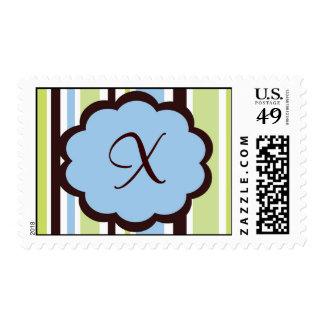 Sassy Stripe Blue and Brown Monogram Wedding Postage