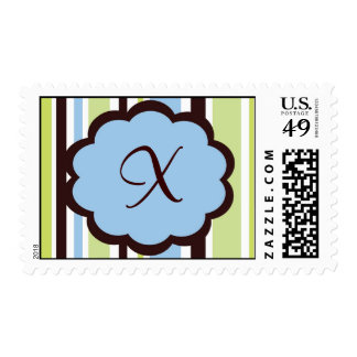 Sassy Stripe Blue and Brown Monogram Wedding Stamps