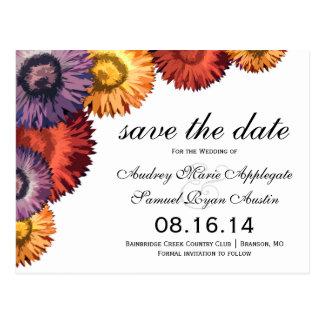 Sassy Summer Flowers Modern Wedding Save the Date Postcard