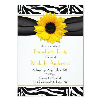 """Sassy Sunflower Zebra Print Bachelorette Party 4.5"""" X 6.25"""" Invitation Card"""