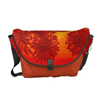 Sassy Sunflowers in Orange Messenger Bags