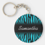 Sassy Teal Blue Zebra Personalized Key Chain