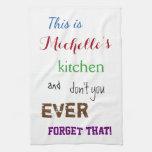 [ Thumbnail: Sassy Typographic Custom Name Kitchen Towel ]