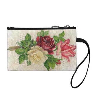 Sassy Vintage Lace Roses Rose Bouquet Bagettes Coin Purse