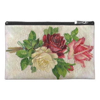 Sassy Vintage Lace Roses Rose Bouquet Bagettes Travel Accessory Bag