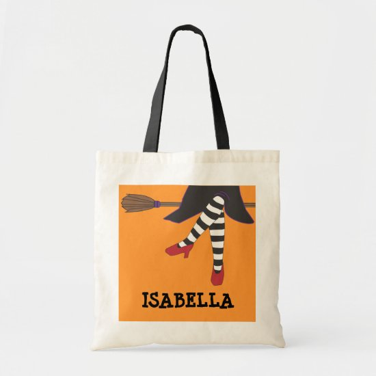 Sassy Witch Halloween Trick or Treat Customizable Tote Bag