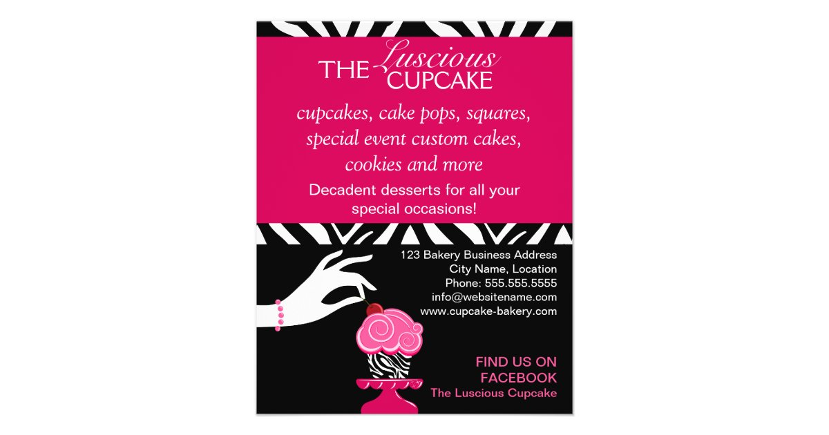 Sassy Zebra Cupcake Bakery Flyer | Zazzle.com