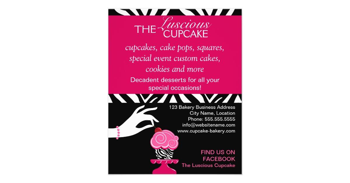 Sassy Zebra Cupcake Bakery Flyer Zazzle Com