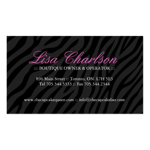 Sassy Zebra Cupcake Business Card (back side)