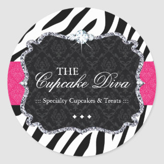 Sassy Zebra Cupcake - Packaging Stickers