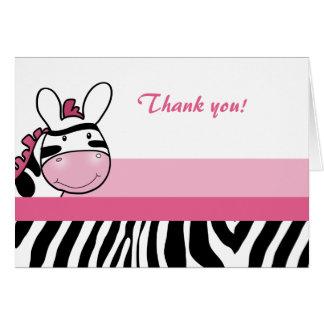 Sassy Zebra Diva Stripe Folded Thank you note Card