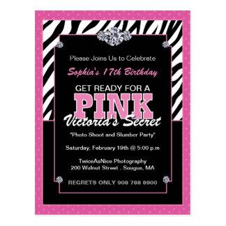 Sassy Zebra Print Birthday Party Invites Post Cards