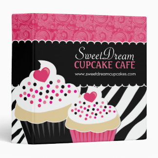 Sassy Zebra Print Cupcake Binder