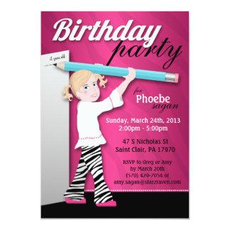 Sassy Zebra Print Girl Birthday Party Invitations