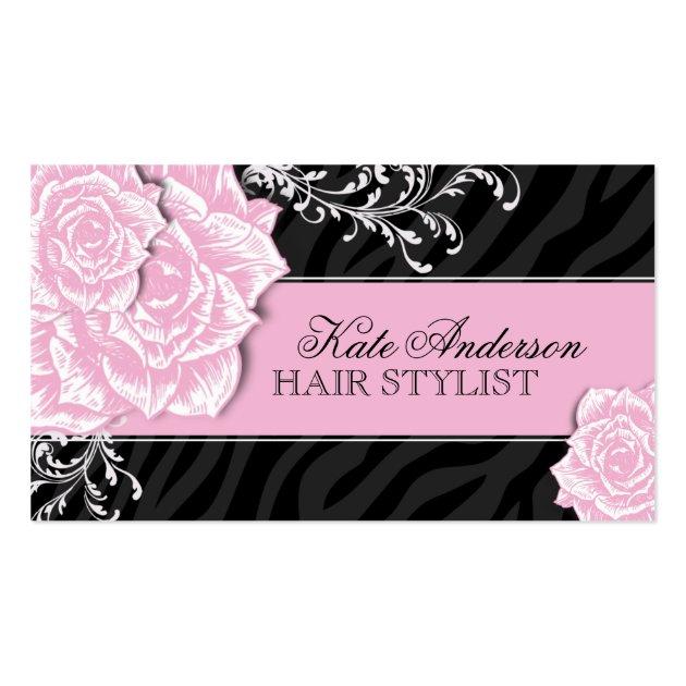 Sassy zebra print hair stylist business cards for Business cards hair stylist