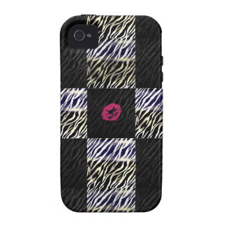Sassy Zebra Silver Black animal Print iPhone 4 Case