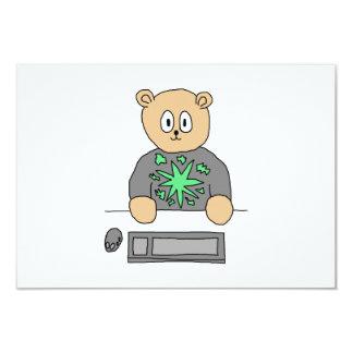 Sat At Computer Keyboard. Card