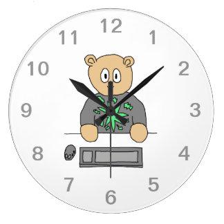 Sat At Computer Keyboard. Large Clock
