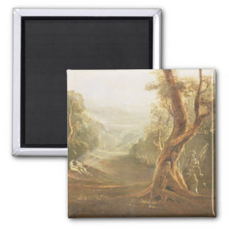 Satan Contemplating Adam and Eve in Paradise, from 2 Inch Square Magnet