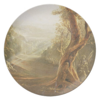 Satan Contemplating Adam and Eve in Paradise, from Melamine Plate