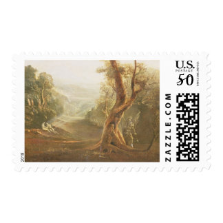 Satan Contemplating Adam and Eve in Paradise, from Postage