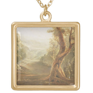 Satan Contemplating Adam and Eve in Paradise, from Square Pendant Necklace