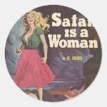 ¡satan es una mujer! etiquetas redondas