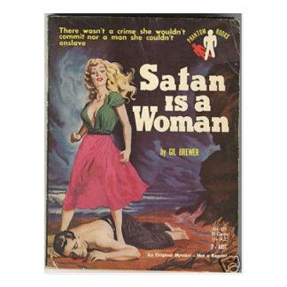 ¡satan es una mujer! postal