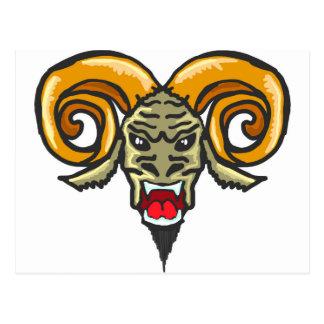 Satan Horned Beast Sketch Postcard