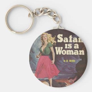 satan is a woman! basic round button keychain